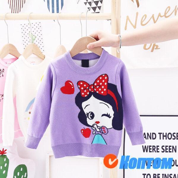 Популярной свитер с принцессой для девочики AR007