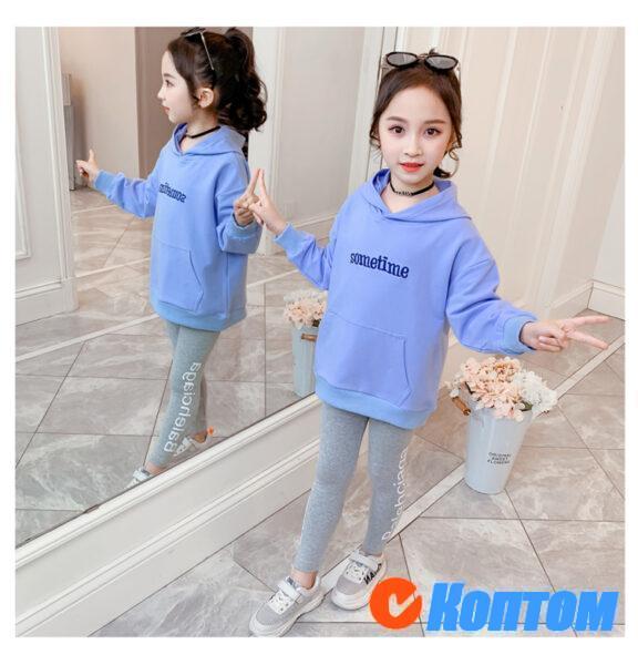 Детский модный костюм с капюшоном для девочки YAH067