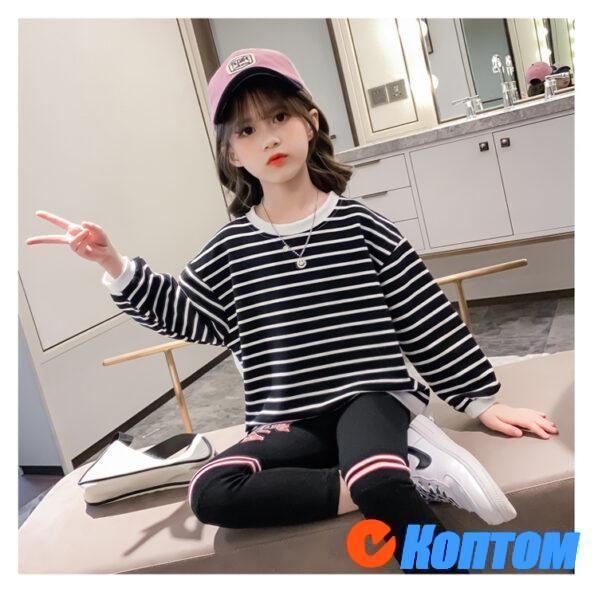 Детской модный костюм с длинным рукавом для девочки YAH056