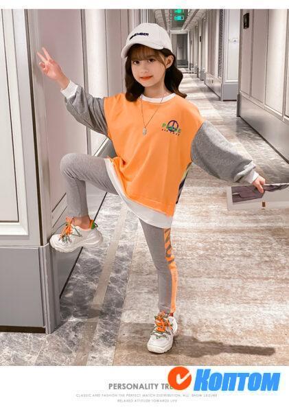 Детской модный костюм  с длинным рукавом для девочики YAH052