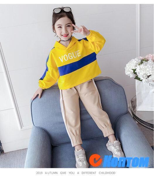 Детской модный костюм  с длинным рукавом для девочики YAH053