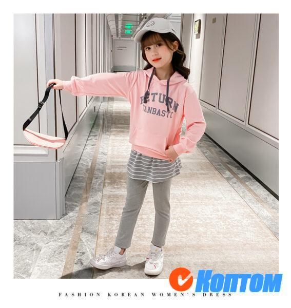 Детский модный костюм с капюшоном для девочки YAH028