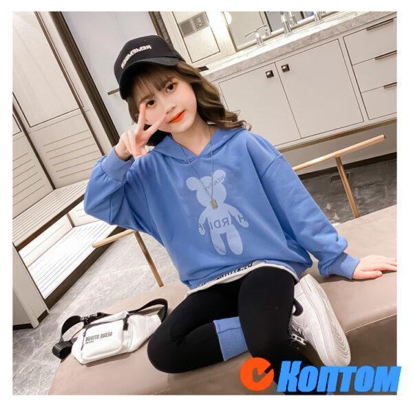 Детский модный костюм с капюшоном для девочки YAH031