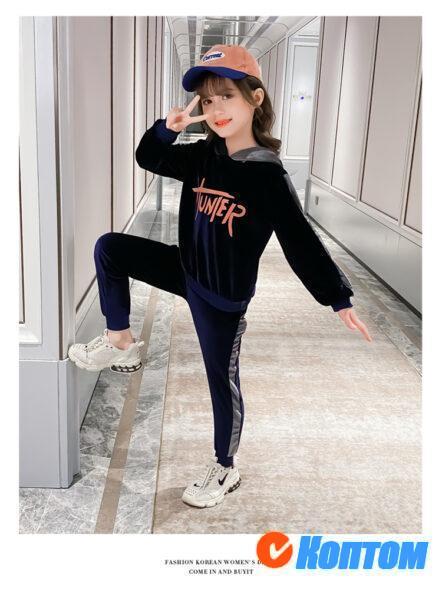 Детской зимний костюм бархата для девочки YAH055