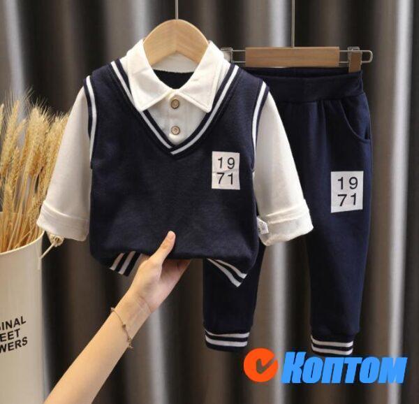 Детский костюм из двух частей с лацканами в стиле колледжа DJ002