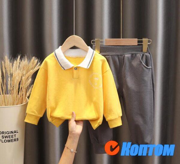Спортивный двухкомпонентный корейский детский костюм на весну и осень DJ005
