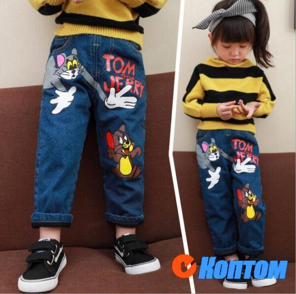 Корейские стили джинсы с бархатом для девочки DN003