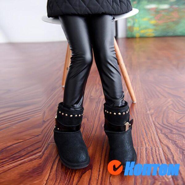 Эластичные эластичные узкие брюки из искусственной кожи для девочки DN005