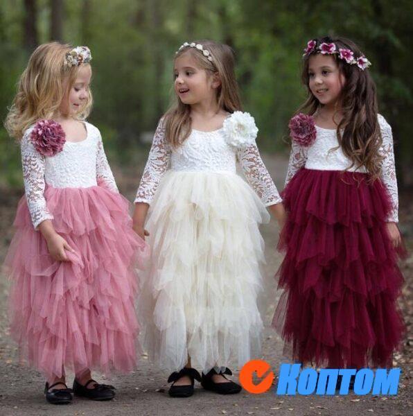 Платье принцессы с цветочным рисунком для девочек YAJ001
